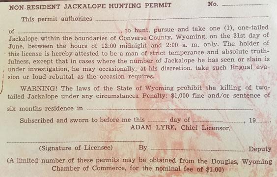 Jackalope Hunting Permit
